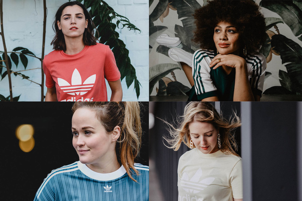 Jen, Laura, Liberta und Julia Dalia in der adicolor Kollektion von adidas Originals