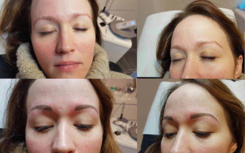 Der Prozess beim Permanent Make-up an den Augenbrauen.