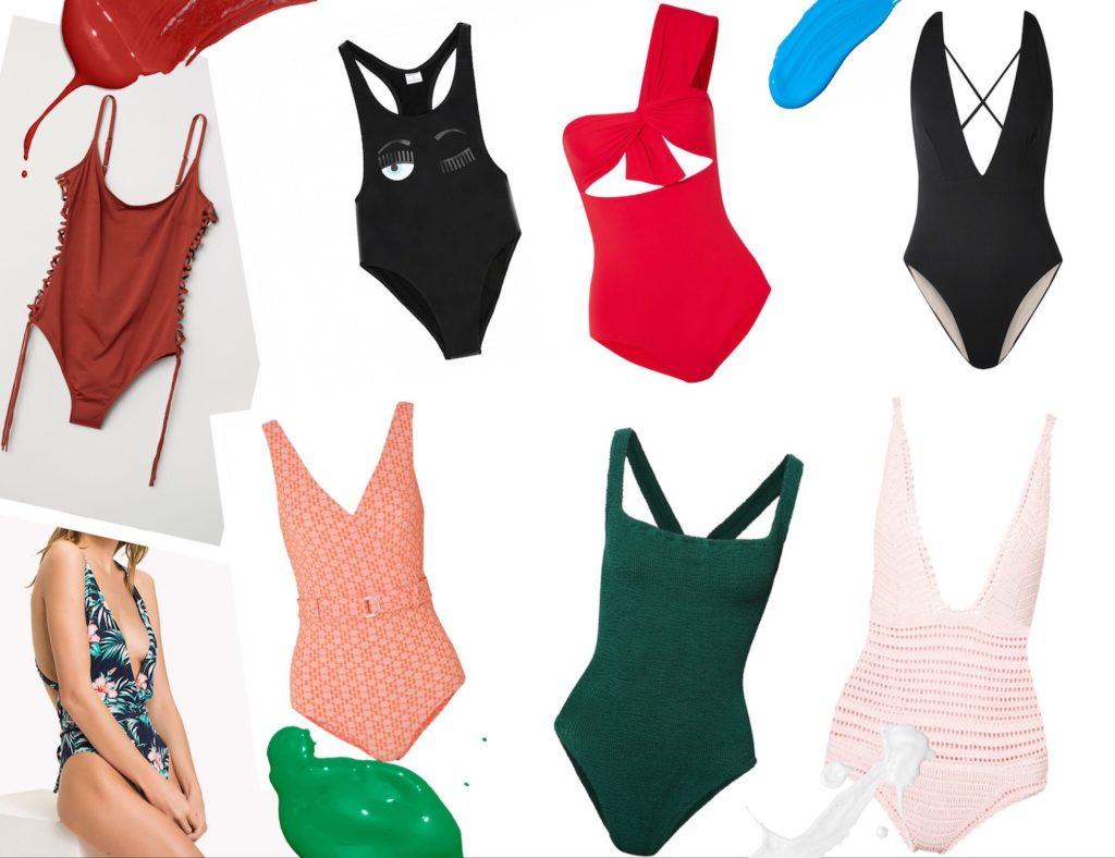 Kollage mit Badeanzügen um ein schönes Sommeroutfit zu gestalten.