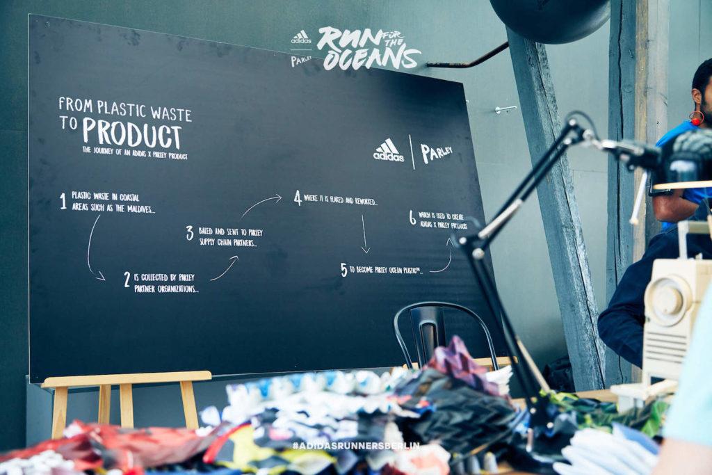 Der Run for the Oceans von adidas x Parley in Berlin. Im Bild eine Tafel die zeigen soll, wie auf Plastikmüll Material hergestellt wird.