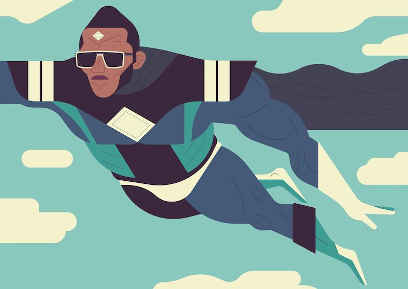 Die Illustration The Superhero von Owen Davey für IC Berlin.
