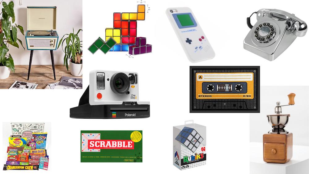 Collage mit Retro-Weihnachtsgeschenken. Die besten Ideen für schöne Weihnachtsgeschenke.