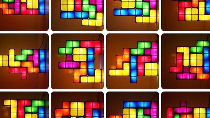 Eine Collage mit der Tetris Lampe von LECHM