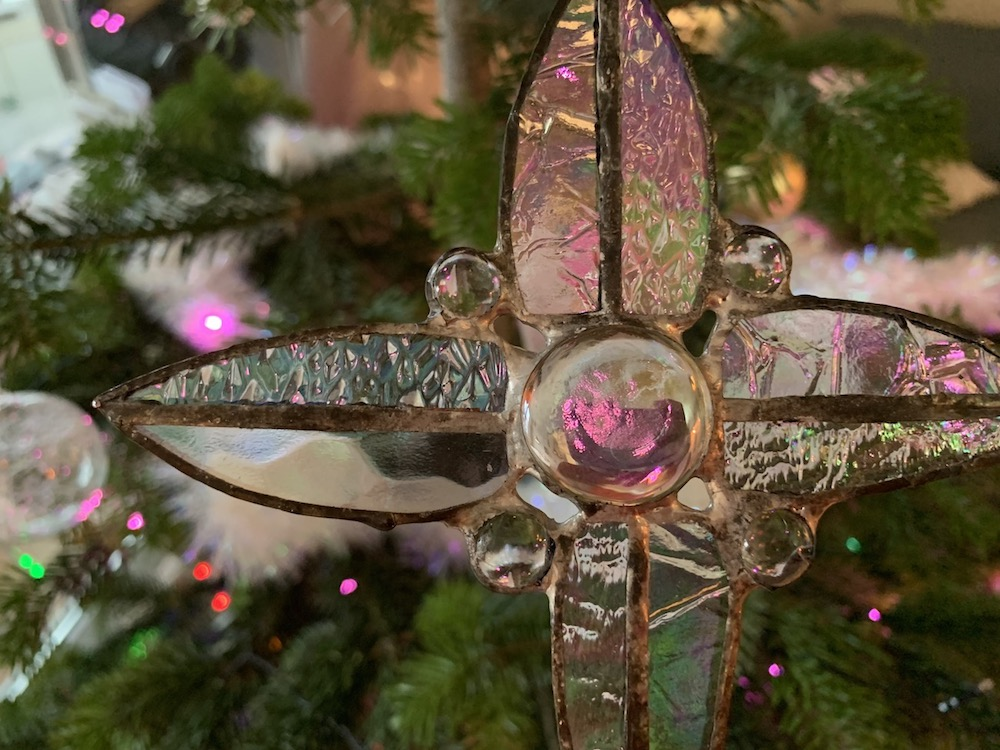 Weihnachtsbaum Bild mit einem Glasstern