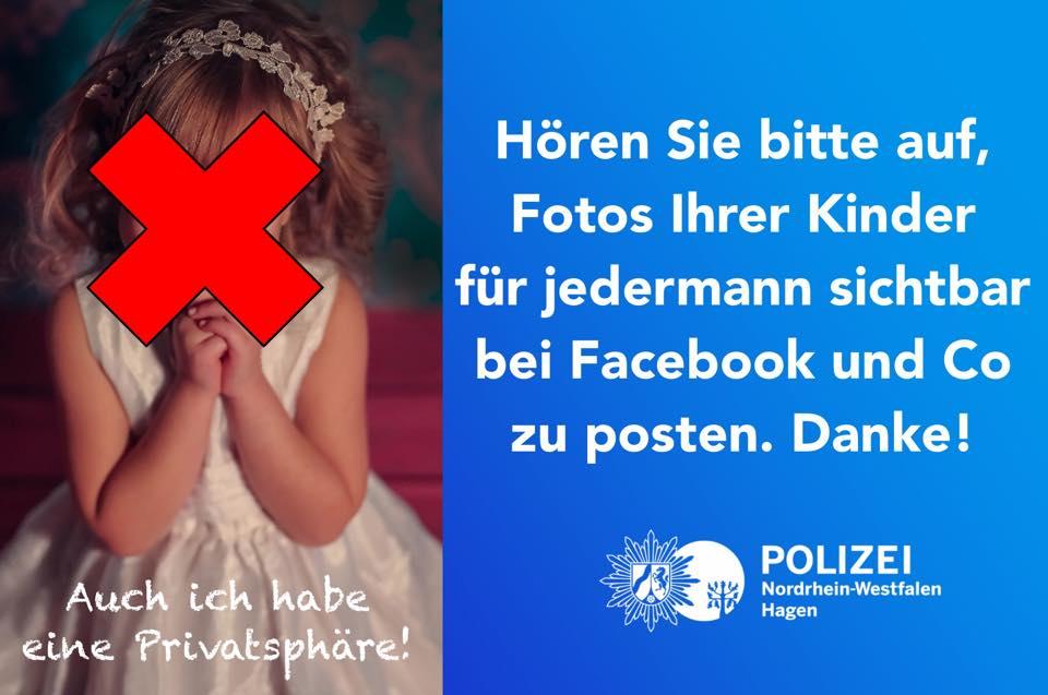 Kinderrechte Polizei Appell zum Schutz der Privatsphaere der Kinder im Internet