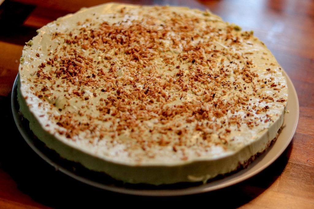 Der fertige Matcha Cheesecake.