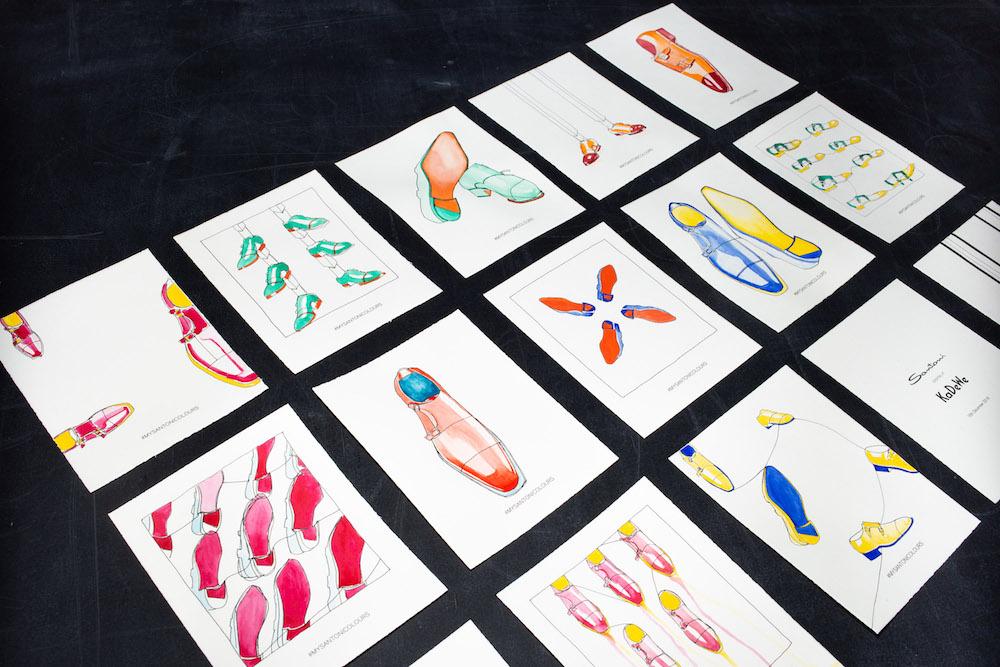 Darwin Stapel für Santoni Shoes; Onelineillustration;