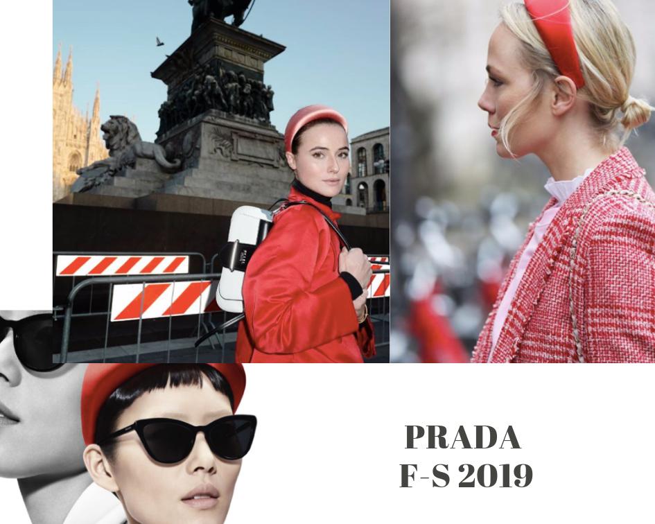 Eine Collage dem Haarreif von Prada
