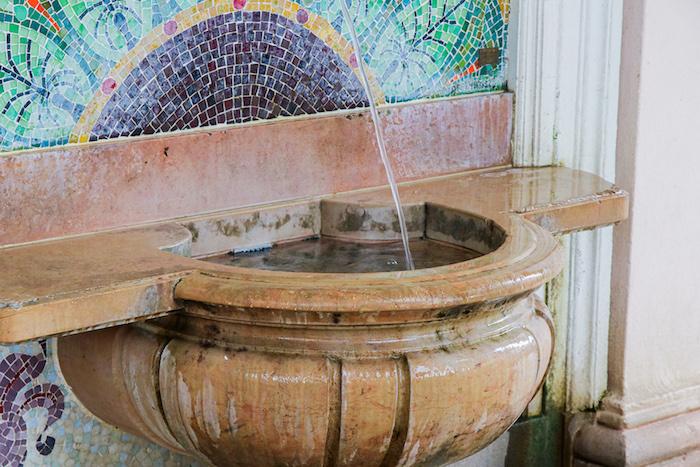 Ein Bild der Source Cachat mit evian Mineralwasser.