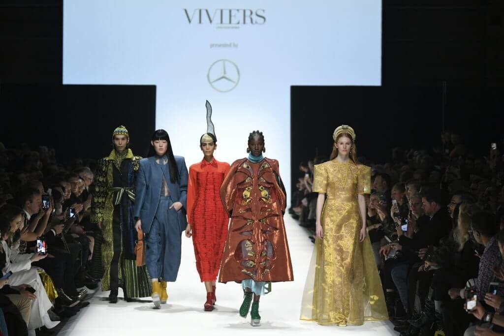 Fashion News mit Designer Viviers während der Mercedes-Benz Fashion Week in Berlin im Januar für Herbst/Winter 2020/2021