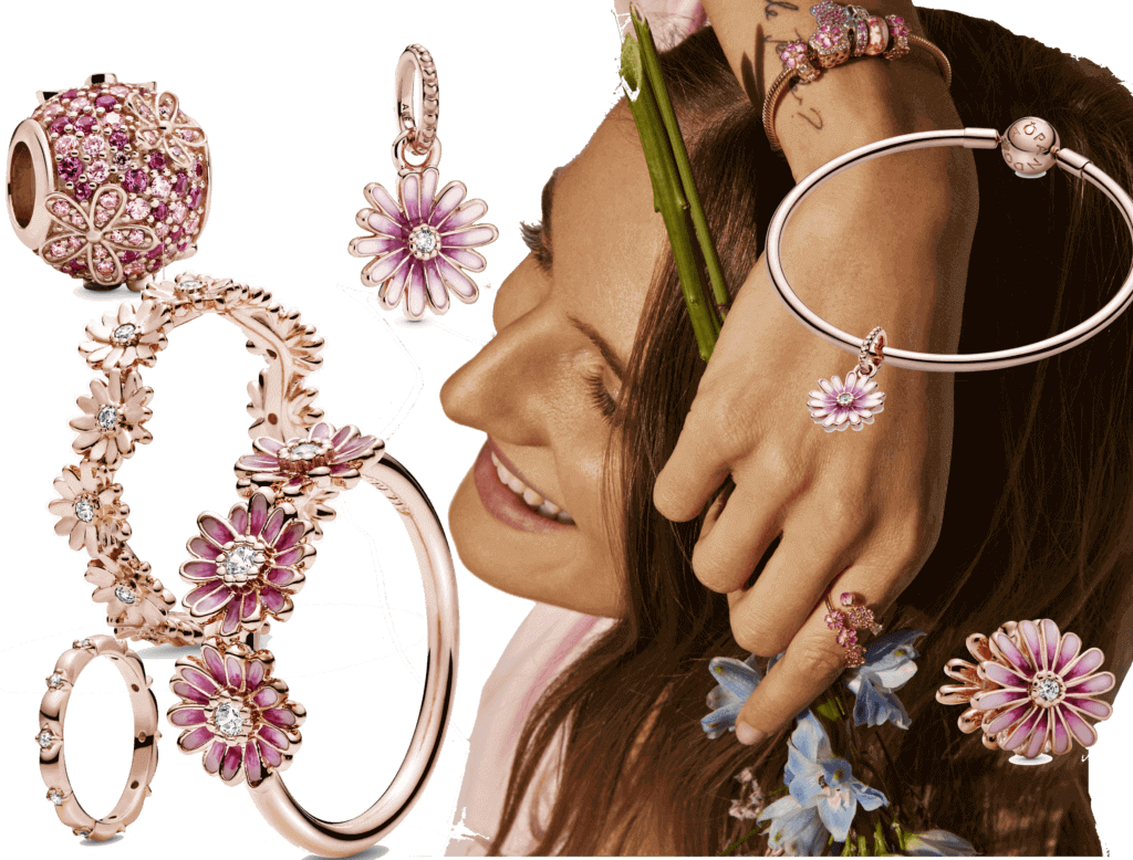 Fashion News mit Pandora Garden Collection roségold mit vergoldeten Gänseblumen und Zirconia Steinen